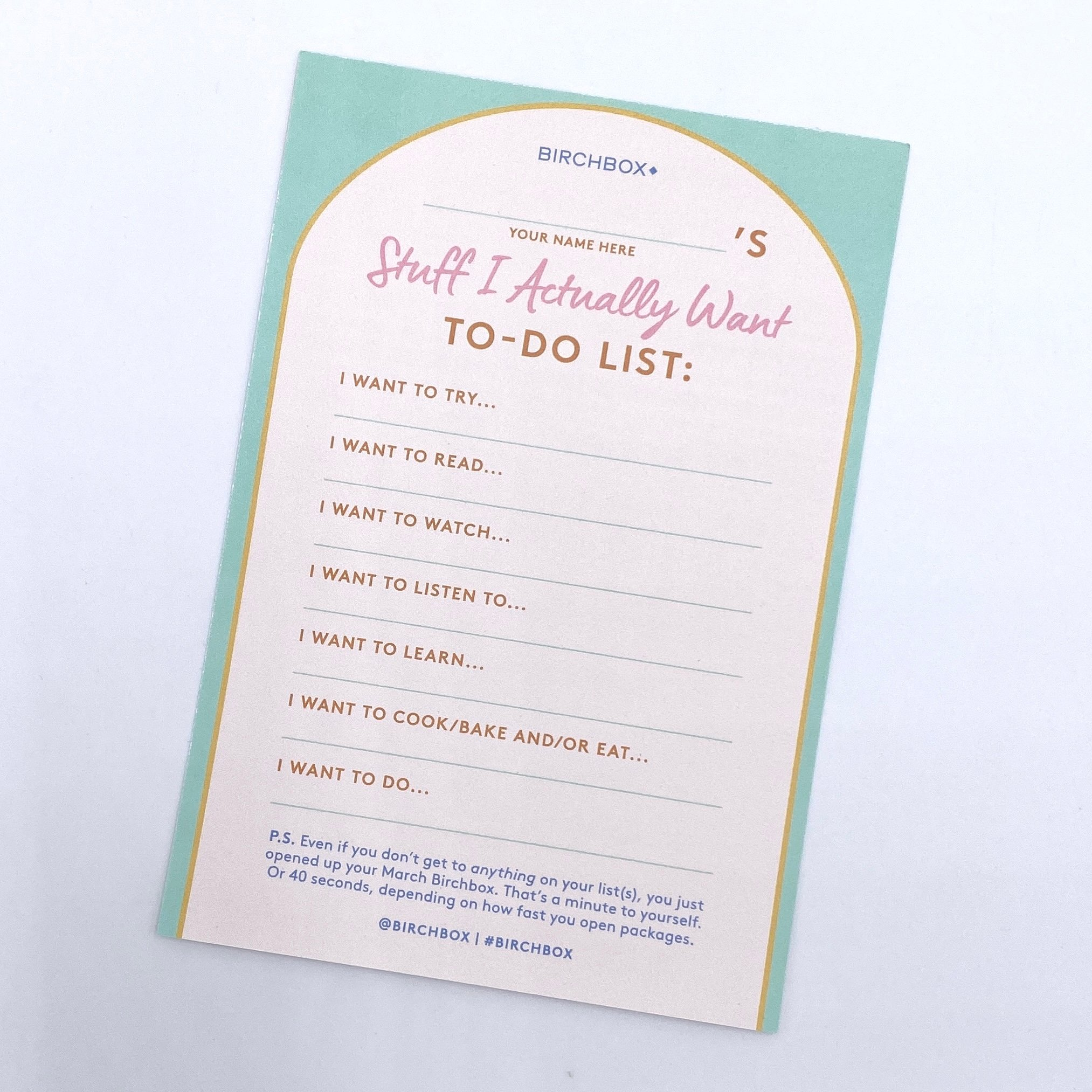 Card Front for Birchbox March 2021