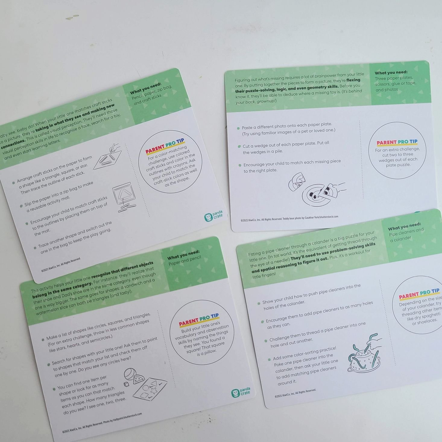 Panda Crate Solve With Me Box activity cards backs/details