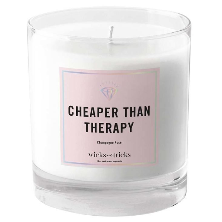 candle with cheaper than therapy label