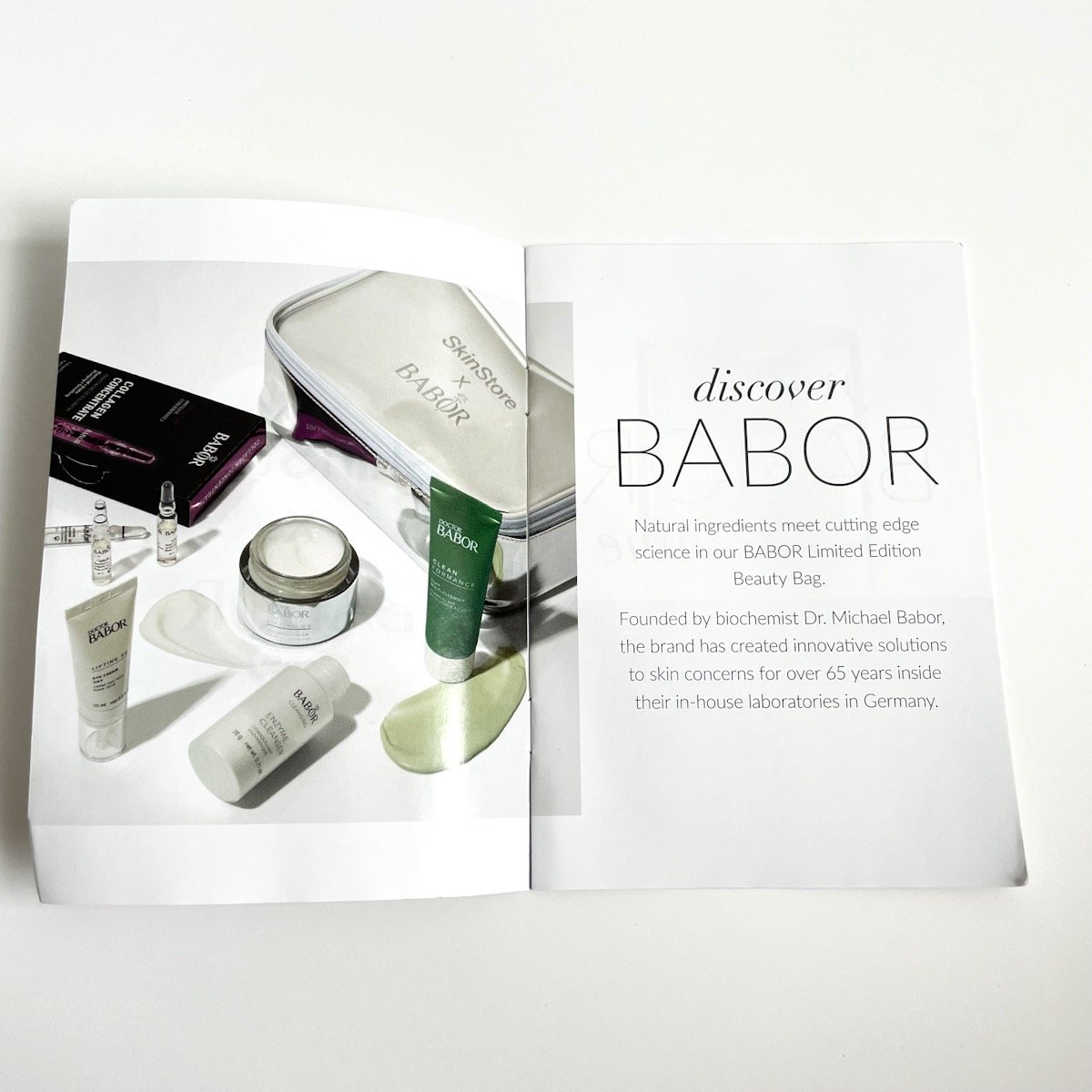 info booklet detailing products inside