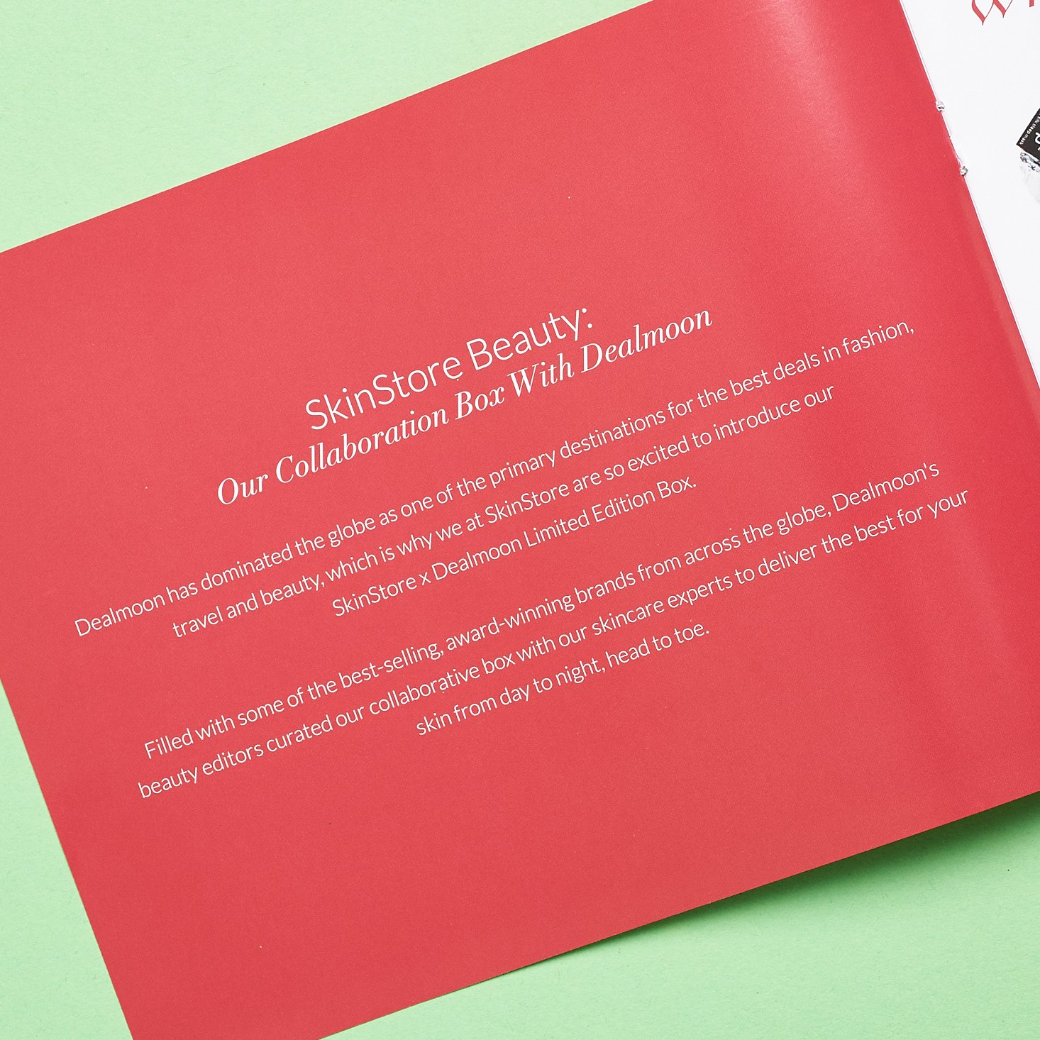 inside of red info booklet detailing the skinstlre x deal moon collaboration