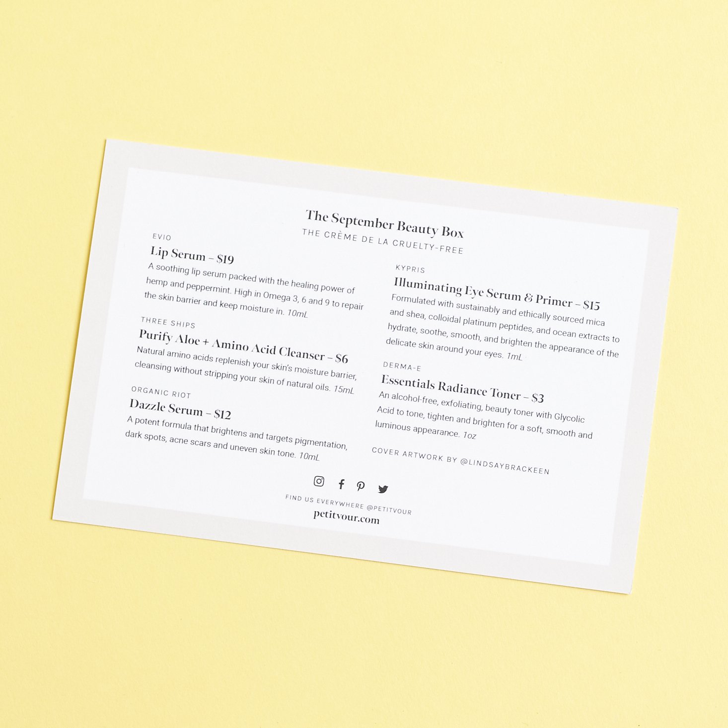 white info sheet with black lettering detailing the products inside