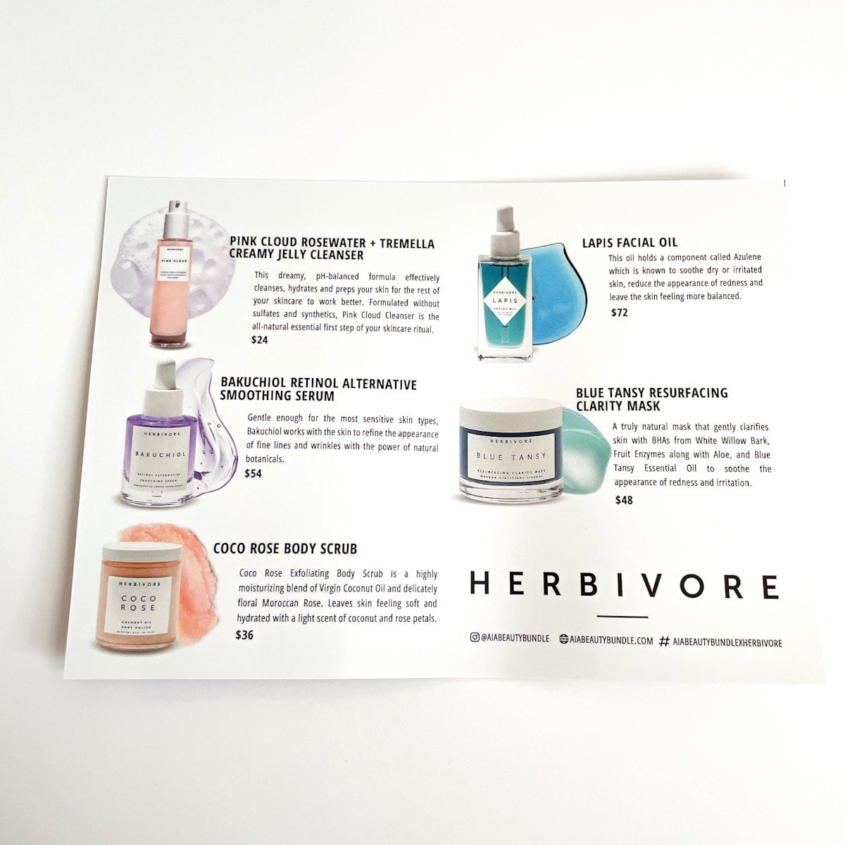 info sheet detailing products in box