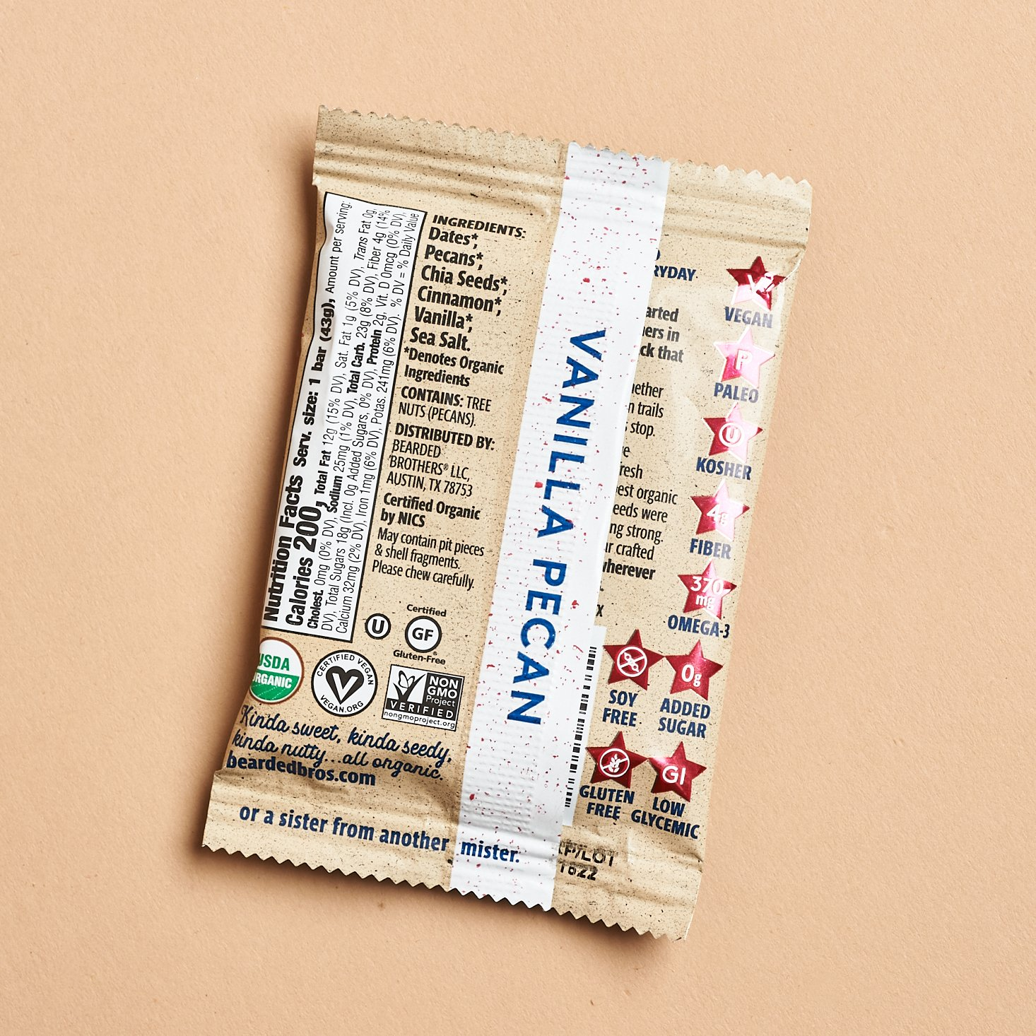 vanilla pecan food bar package showing utrition facts